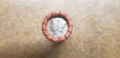 Roll of Raw unopened unsearched  Wheat Pennies with a Silver Dime on the end