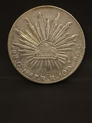 1887 Mexico 8 Real Silver Coin XF Plus to AU