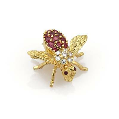 Herbert Rosenthal Diamond & Ruby 18k Yellow Gold Bee Brooch Pin
