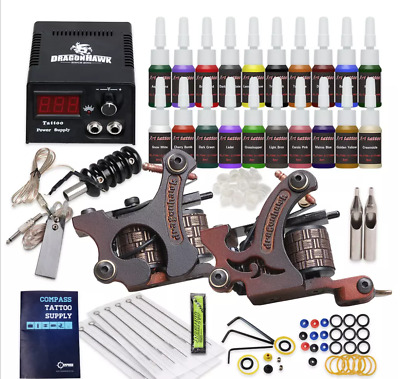 Beginner Tattoo Kit 2 Guns set liner & shader 20 color Inks Power Supply Needles