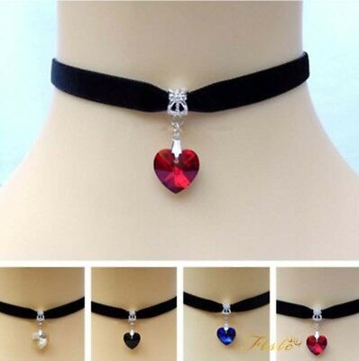 Chocker Retro Women Charm Choker Necklace Heart shaped pendant Gothic Prom
