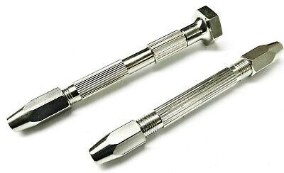 2 Piece Pin Vice Double End Pin & Swivel Head Pin Vise Hand Tool Set of 2