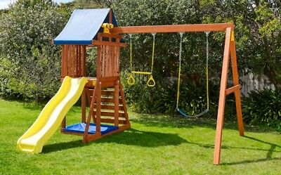 Kids Wooden Swing Slide Rock Climbing Covered Sandpit Playset Playground Outdoor