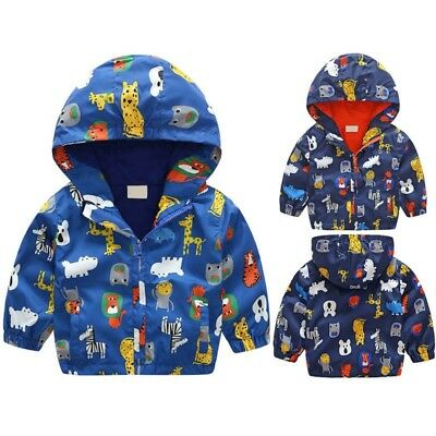 AU Baby Boys Girls Hooded Cartoon Jacket Coat Kids Windbreaker Clothes Outerwear