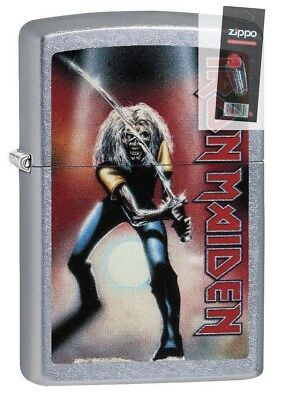 Zippo 29575 Iron Maiden Street Chrome Finish Full Size Lighter + FLINT PACK