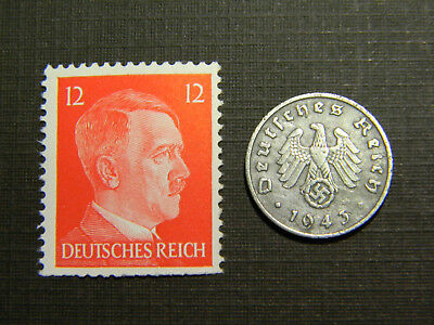 Authentic Rare 3rd Reich Coin and A.H. Stamp WORLD WAR 2