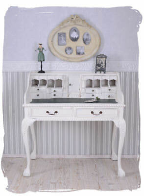 Vintage secretary white shabby chic desk country mahogany solid chippendale wood