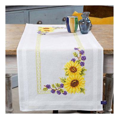 Embroidery Kit Runner Sunflowers Design Stitched on Cotton Fabric  40 x 100cm