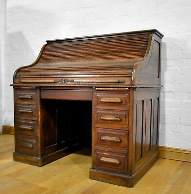 Antique vintage large early 20th century tambour roll top writing desk
