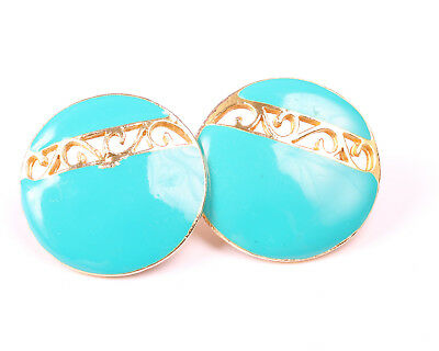 Vintage 1960s Gold Tone and Turquoise enamel Earrings