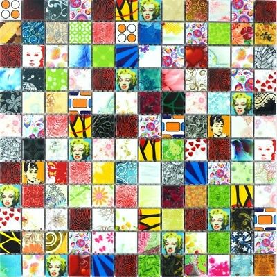 POP UP ART Mosaik Fliese Keramik mehrfarben bunt Retro Vintage Star WB18D-1605