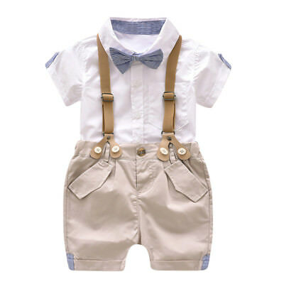 31f9f679b58d BABY BOYS SUMMER Formal Party Wedding Smart Outfit Tuxedo Shorts Set ...