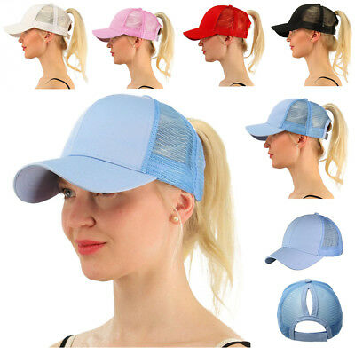 New Summer Ponycap Messy High Bun Ponytail Glitter Mesh Trucker Baseball Cap Hat