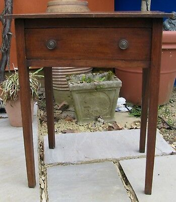 ANTIQUE GEORGIAN MAHOGANY SIDE TABLE RUSTIC COUNTRY PIECE  c1780 WITH DRAWER!!!