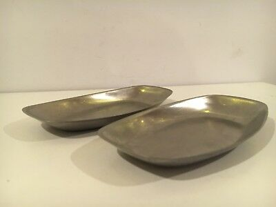 2 Vtg Olde Old Hall Brushed Stainless Steel Triangular Mid-Century Dish