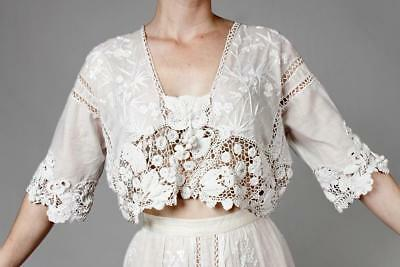 Heavenly 1900S Edwardian Irish Crochet Lace Tea Dress Wedding Gown Embroidered