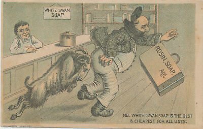 C7963   Victorian Trade Card White Swan Soap  Goat Comic