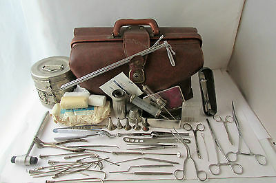 Antique  Old Doctor's Medical Bag with Instruments & tools