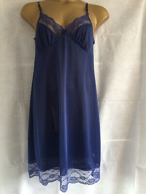 Ladies Blue Strappy Full Slip Chemise Vintage style lace trim 12 to 24/26