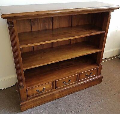 New Solid Mahogany Bookcase With Adjustable Shelves And 3 Drawers. Free Delivery