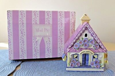 Mud Pie Pansy Purple Cottage House Candle Holder with Tealight