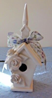 Mud Pie Porcelain Church With Roses Birdhouse