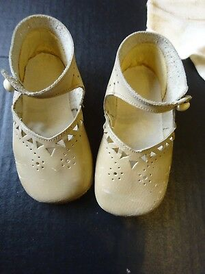 Vintage Children's Shoes for Large  Bisque Doll Side Button Leather Size 3