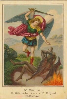Nr 16573 Andachtsbild holy card Litho  St Michael Teufel