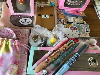 Rilakkuma Hello Kitty Pusheen Kawaii lot: pens figures stickers iPhone6+ cases