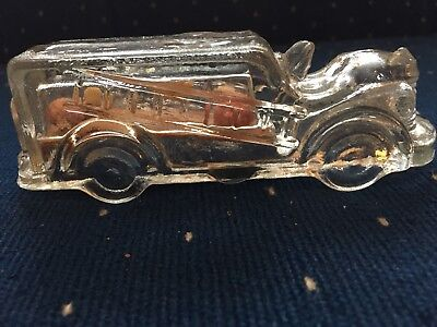 Vintage Fire Ladder Truck Glass Candy Container Unopened