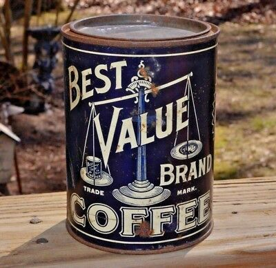 Vintage Best Value Brand Coffee Tin The Weldeman Co Cleveland Ohio  Advertising