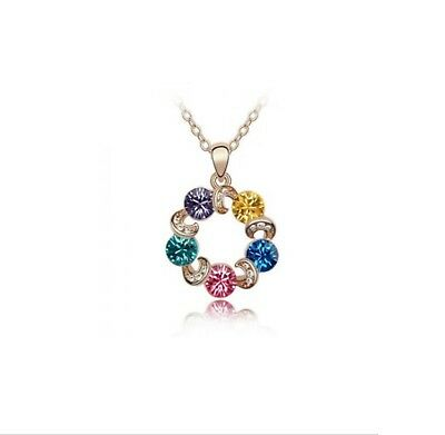 Austrian Multi-Color Crystal Circle Gold Chain Necklaces Pendants