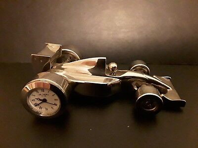 "Miniature Novelty Chrome Formula 1 Racing Car Quartz Clock Wm.widdop 4"" Long."