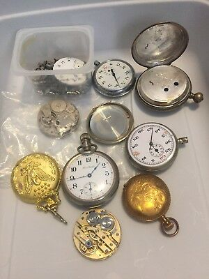 Pocket Watch Cases and Parts Lot