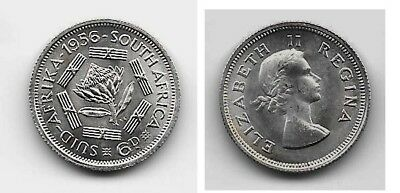 1956 South Africa silver 6 Pence, BU