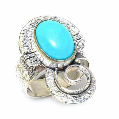 Egyptian Sleeping Beauty Turquoise Vintage Style 925 Sterling Silver Ring 9(169)