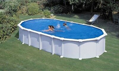 Pool OVAL Becken 9,2m x 4,6m x 1,35m Stahlwand weiss Schwimmbad