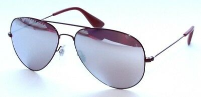 9cc9ce940d Ray Ban RB3558 9017 B5 58MM Red Aviator Sunglasses w  Silver Red Mirrored  lenses