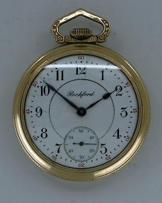 Antique 1910 Rockford 17J Two-Tone Movement Open-Faced Pocket Watch - No Reserve