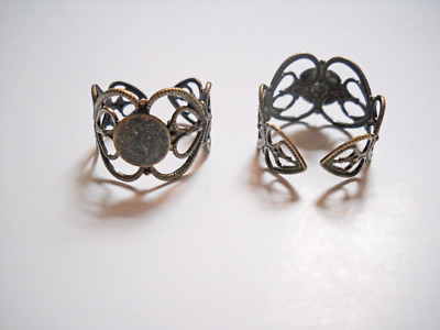 5 Ring Blanks Blank Rings Bronze Ring Blanks Adjustable Rings Filigree Rings
