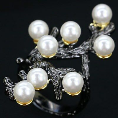 Vintage Style White Pearl Woman's Party Black Gold Silver Ring US 8.0#