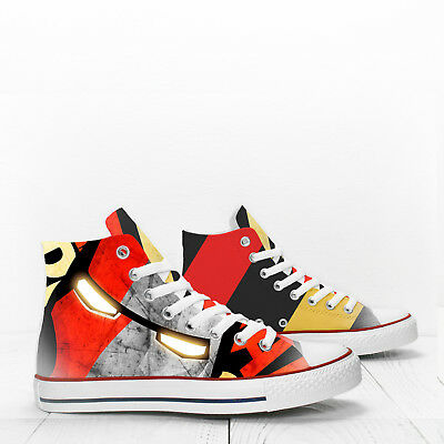 a6d99bd93b43 Iron Man Mask Custom Hi Top designer s shoes PROSPECT AVENUE comics sneakers
