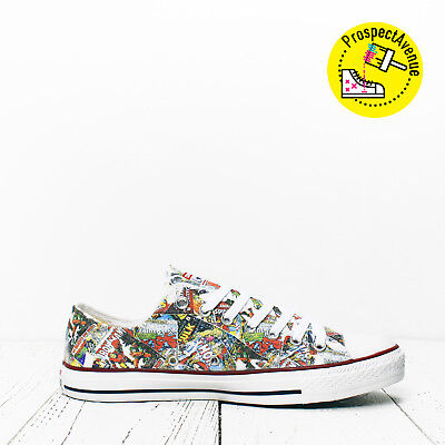 6fa78dbf2fdd Custom Marvel heroes mashup Converse All Star Low Top shoes printed sneakers