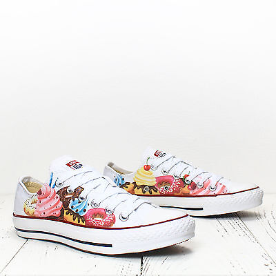 e52d9f125fc590 Cupcakes Donuts Custom Printed shoes Converse All Star Chuck Taylor oxfords