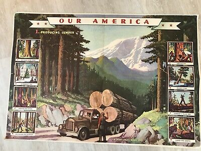 """Coca Cola Lithograph Our America Poster 1 Forest to Sawmill 32"""" x 22"""""""