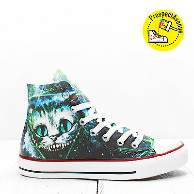 617832f6010e1d Cheshire Cat Converse All Star Hi top shoes Alice In Wonderland Canvas  sneakers