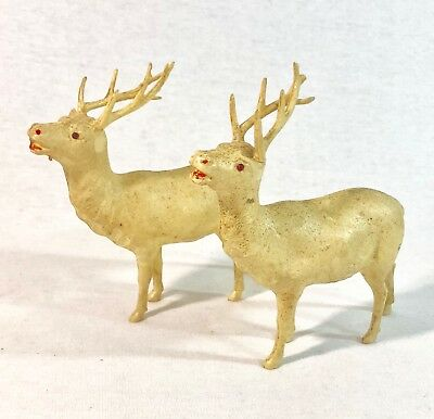 Vintage Christmas Celluloid Reindeer Lot of 2 Japan 5.5 in Red Rhinestone Eyes