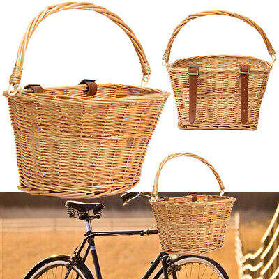 Trendy Style Brown Willow Wicker Bicycle Bike Front Basket+Straps Pet Fruit Shop