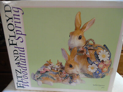 Vintage Fitz And Floyd Woodland Spring Rabbits With Original Box