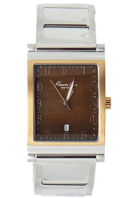 Kenneth Cole Kc9138 Men's Watch Tow Tone Brown Square Dial Rose Gold Analog Date